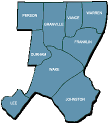 Wake AHEC service region map